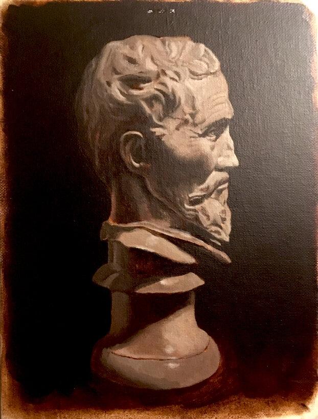 Michelangelo Bust - Oil on board