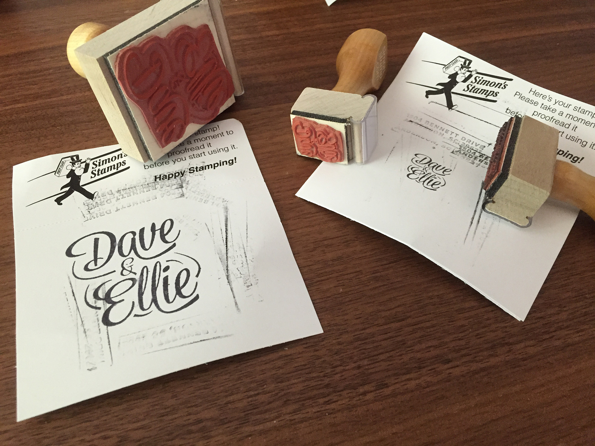 Custom rubber stamps made for packaging elements.