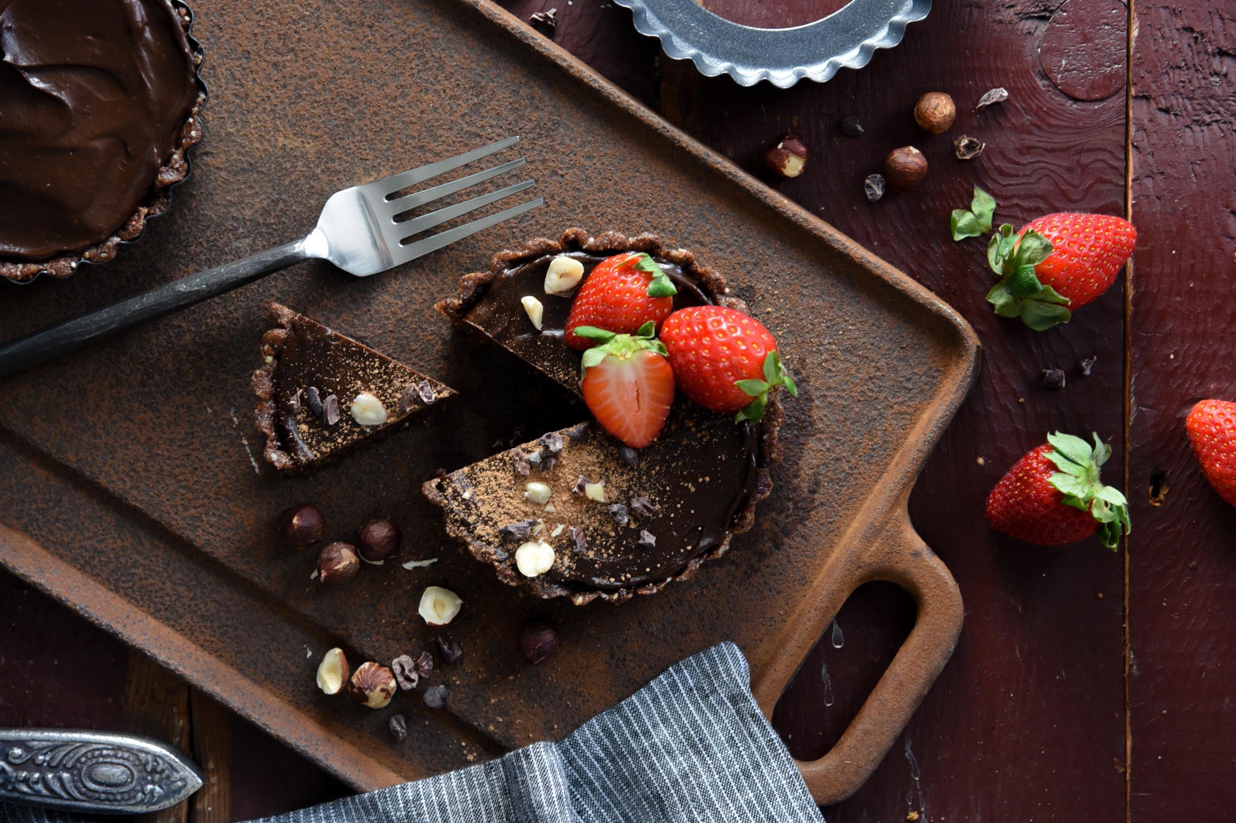 Cacao Hazelnut Tart (Raw, Vegan)