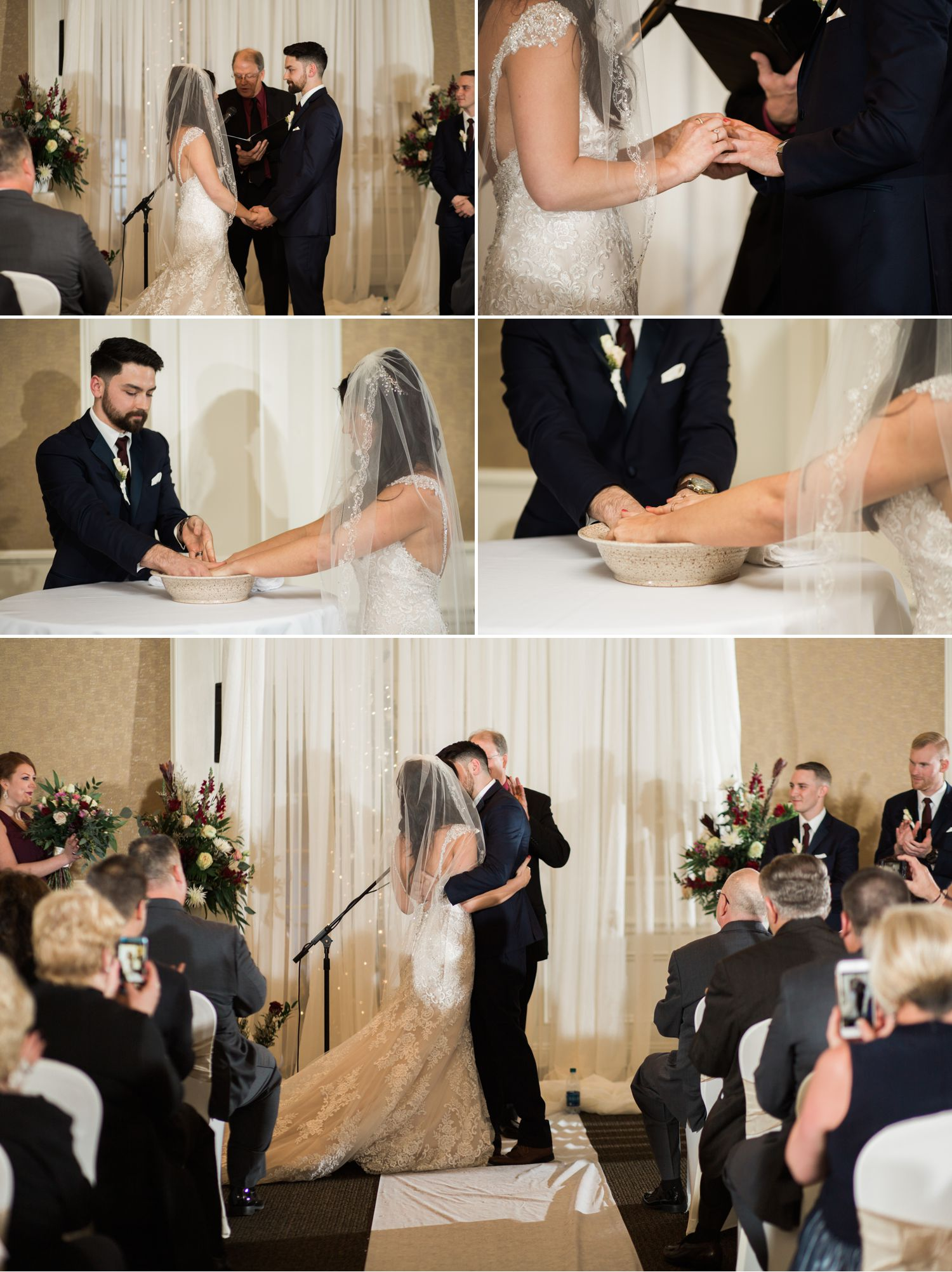 instead of opting for a sand ceremony or unity candle, mike and erika chose to wash each others hands. A meaningful representation that shows love, compassion, and vulnerability towards one another.