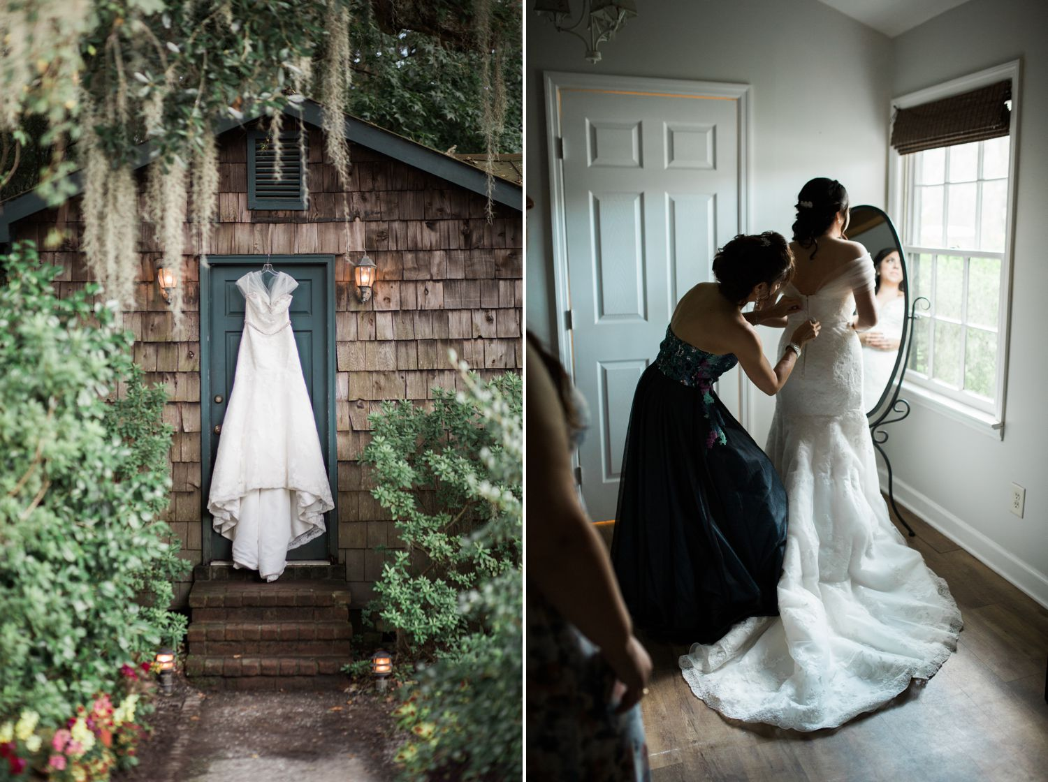 The girls got ready in this cute little cottage, right on the property. The entry way to the bridal suite is right where we hung Deanna's dress. I love how the moss frames her gown.