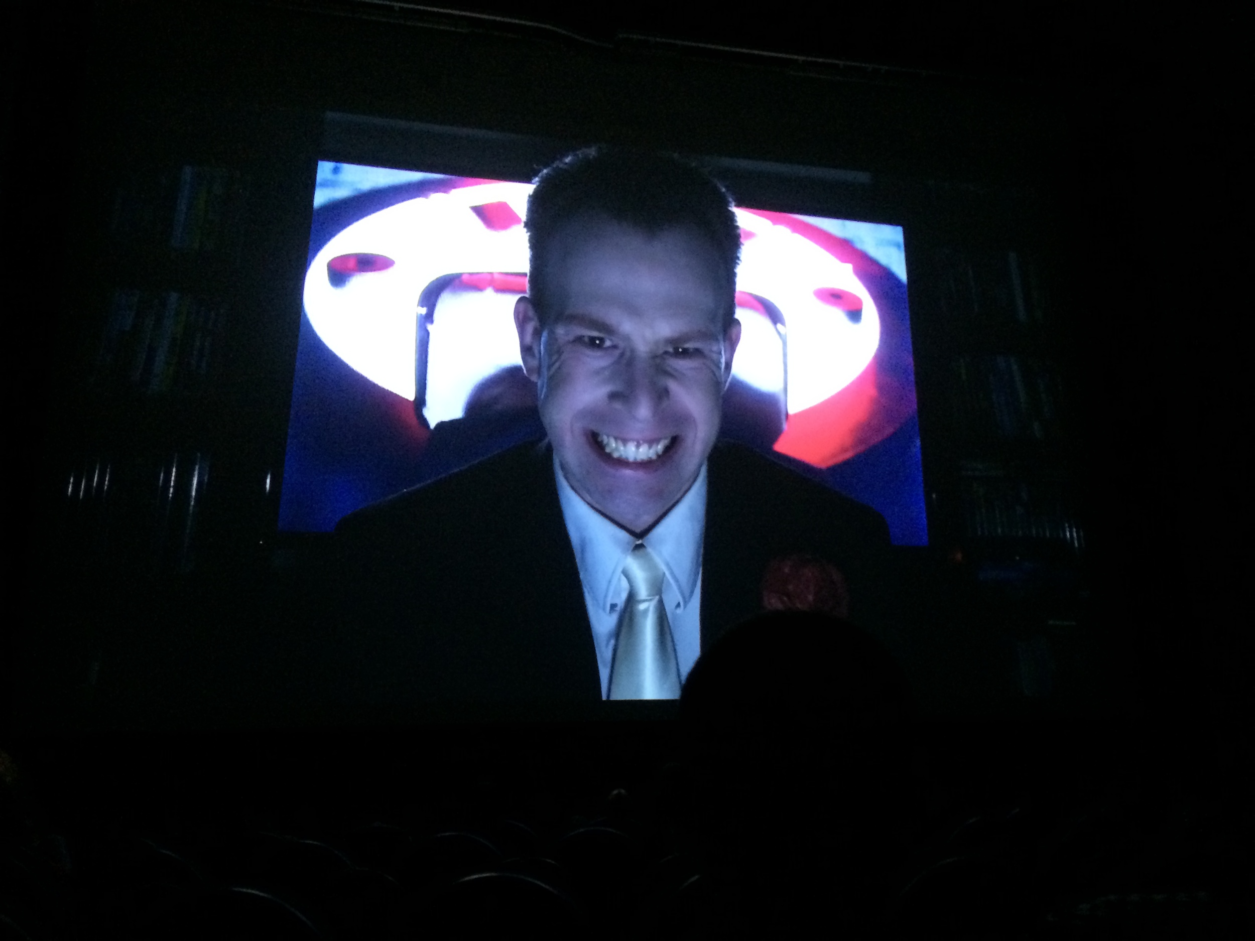 Shawn on the big screen in Berlin before the international shadow cast show