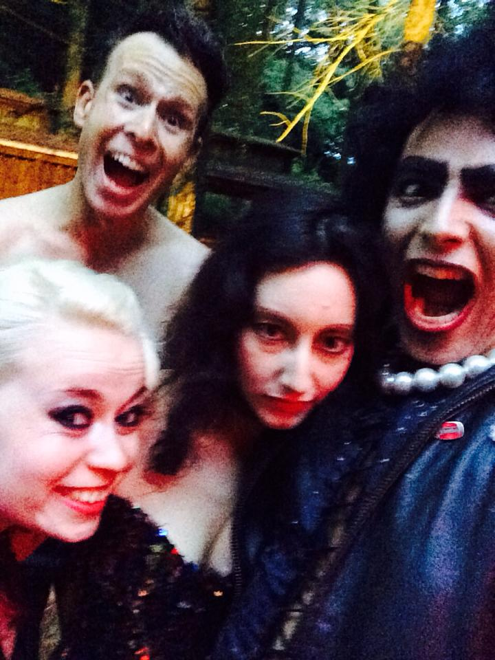 Shawn and Paulie posing with Shira ( Rocky Horror Isreael)  and Jojo ( Rocky Horror Picture Show Berlin Germany ) post Berlin show