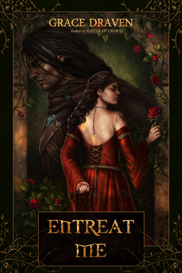 Step-by-step guide from illustrator Louisa Gallie on creating the cover artwork for Entreat Me (author Grace Draven) - Final