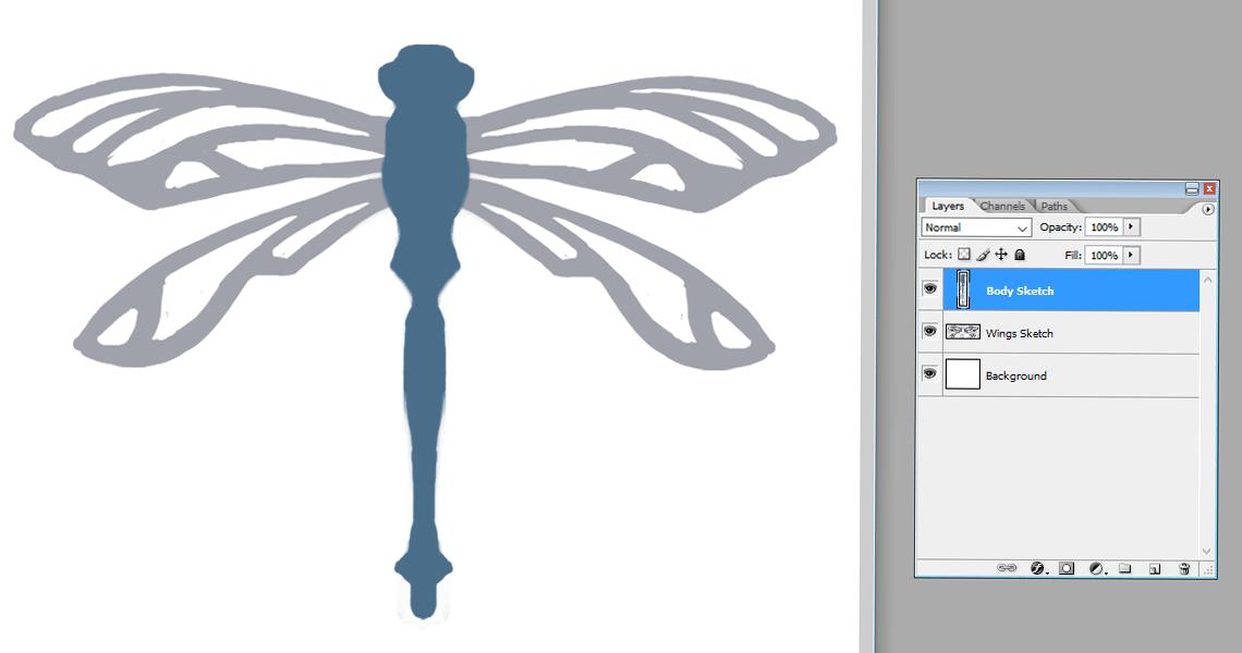 Creating a vector Dragonfly - Sketch | louisagallie.com