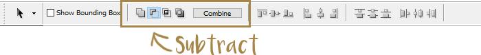 Path combine toolbar - subtract mode | louisagallie.com