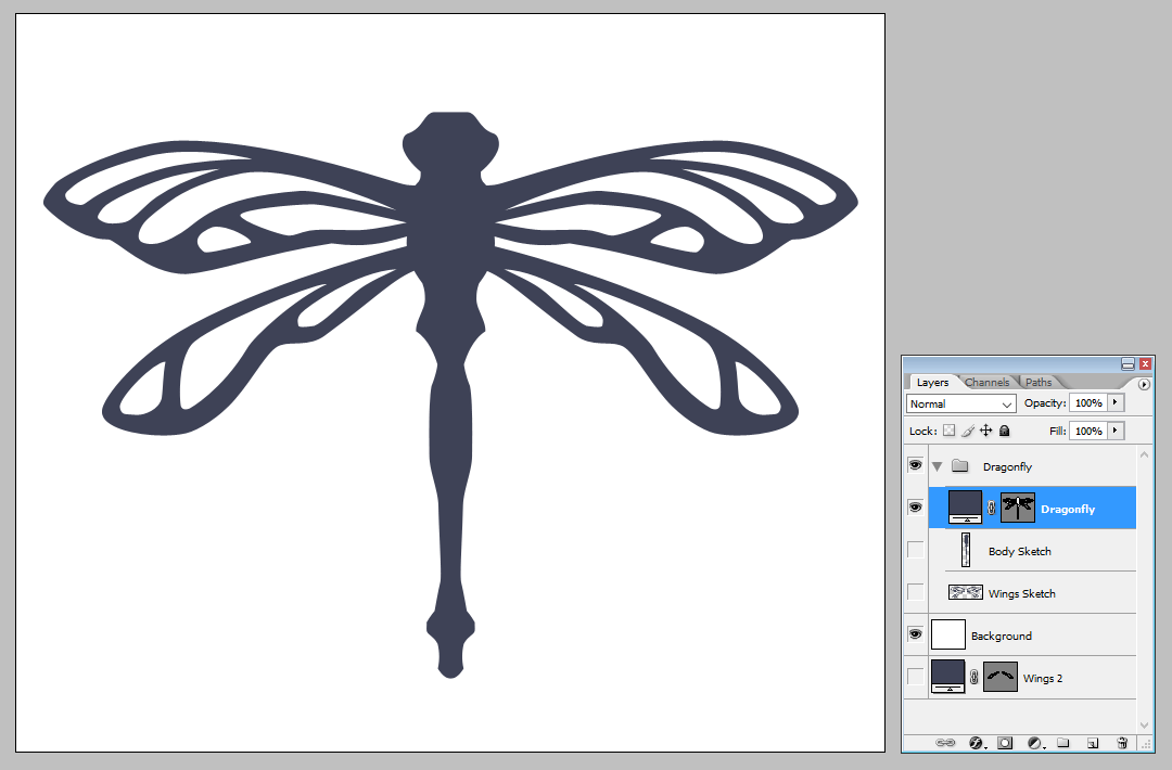 Creating a vector dragonfly - Adding the second set of wings | louisagallie.com