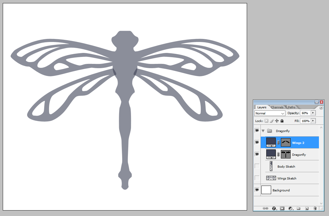 Creatig a vector dragonfly - Adding the second set of wing | louisagallie.com