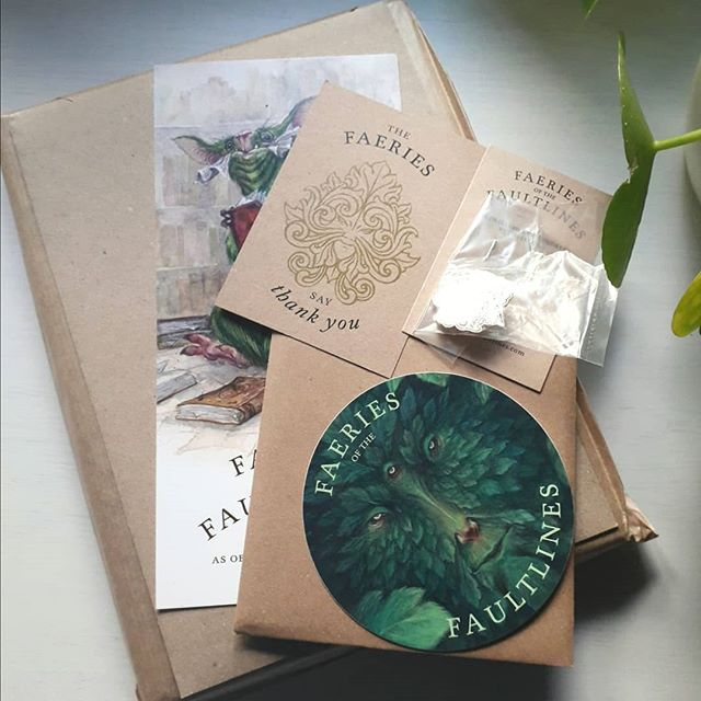 The faultlines are open...I got my beautiful package of Faery wonders from @iriscompiet this weekend. I backed the option for a personalised sketch too, making this treasure of an art book/wildlife journal even more special.  #art #artbook #sketchbook #fae #faerie #iriscompiet #brianfroud #kickstarter