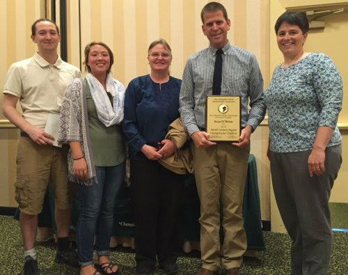 From left to right: Zephyr Morrison, former YLTA student, Lynn Tilden, (SAP at Lin-Wood & Thornton Central School), Kelly Renaud (SAP at White Mountain Regional), Sean O'Brien, Lori Langlois.