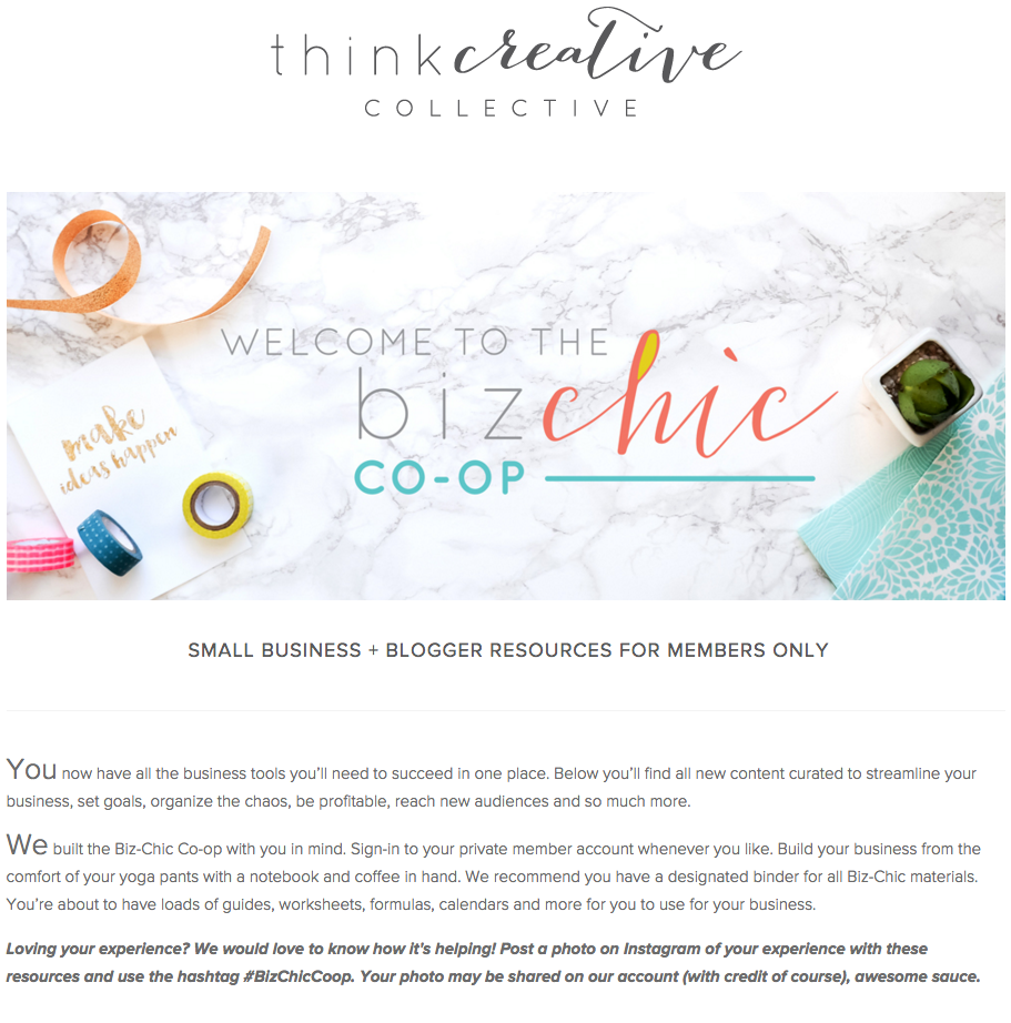 Take a peek into the members only Biz Chic Co-op | Think Creative Collective