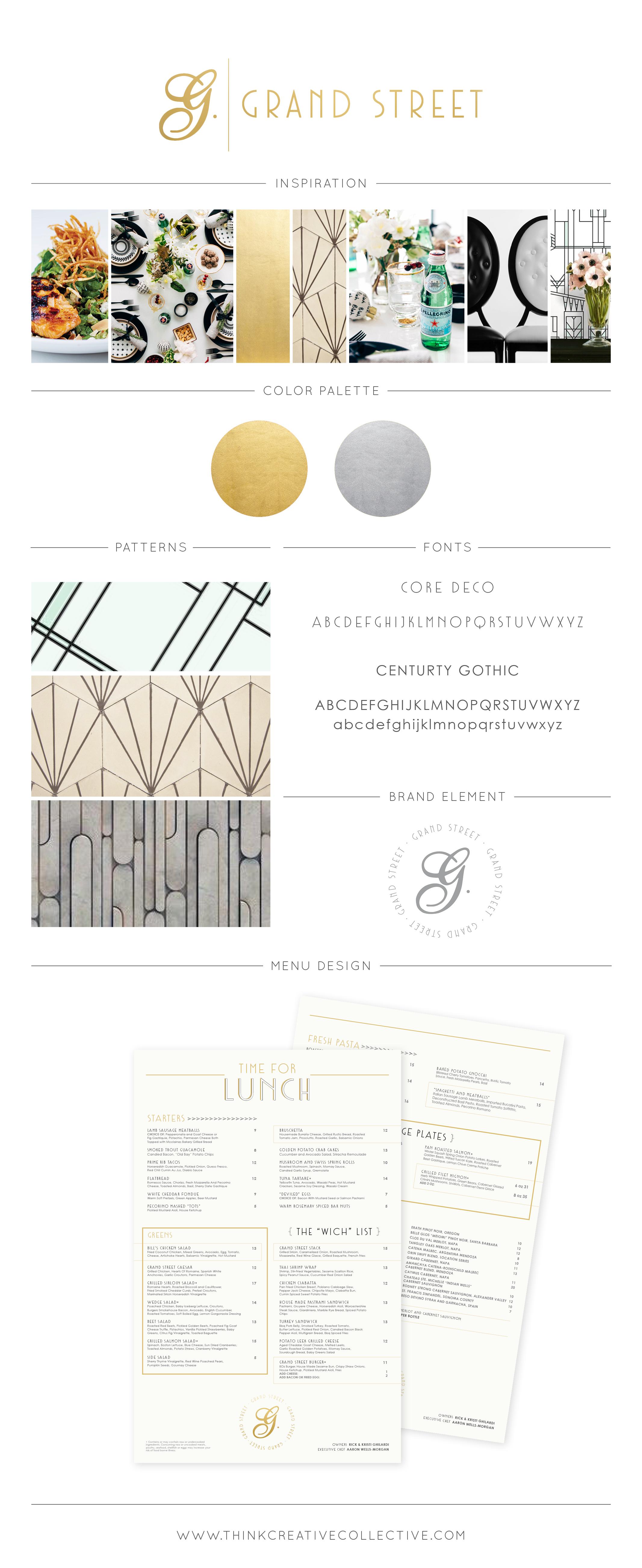 Grand Street     Restaurant & Fine Dinning Re-Brand     Menu Design     Think Creative Collective