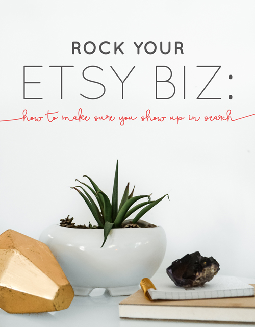 Etsy is one of the most powerful and incredible tools on the Internet with which to springboard your product-based biz. I got my start on Etsy over 7 years ago (from my parents' kitchen counter!), so I know from first-hand experience that with over 1.5 million sellers currently using the site, it can feel totally overwhelming, and dang near impossible to get found by customers. One of the major advantages of having a shop on Etsy is the built-in traffic of over 25 million active buyers, so it's absolutely crucial that you show up and rank highly in a search. Here are a few of my tried and true tips for making sure you're as visible as possible. | Think Creative Collective