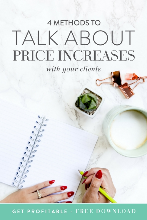 "The best and the worst thing that you can go through as a biz owner is raising your prices. It's awesome, because it means that your business is growing, but it always has the potential to be super awkward and uncomfortable when you need to have a ""the price is going up"" conversation with your repeat clients. Here are some super simple ways for you to handle a price increase with your clients in a way that will make them love you more than ever.  