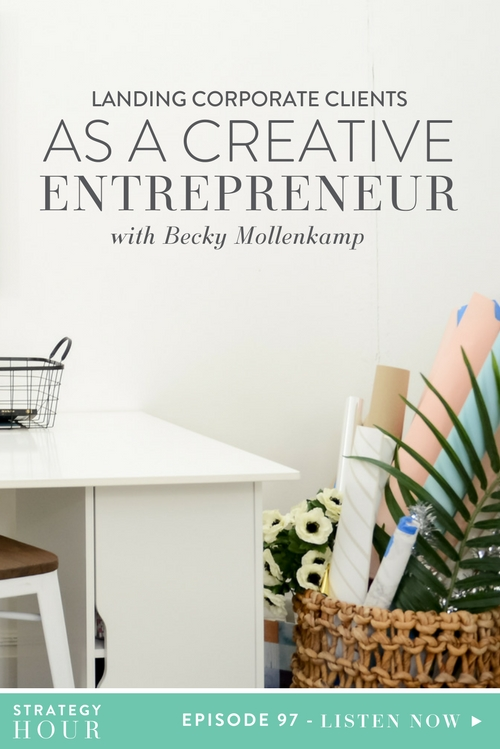We are super excited for today's episode with Becky Mollenkamp. Not only is Becky our friend, but she is a business mentor for women entrepreneurs. She helps them write down all those words that are stuck in their head so they can make some big changes and push forward in their businesses. Becky is also an absolute rock star at landing corporate clients and today we're lucky enough to be getting the inside scoop from her.  |  The Strategy Hour  |  Think Creative Collective
