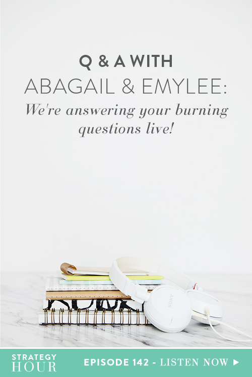 We are back for another Q&A with Abagail and Emylee! Sometimes we allow you, our audience, to post up a thread of burning questions in our Facebook Group. These questions could be anything; business or life — literally anything is on the table. We did this a couple of days ago and received a ton of really great questions. We thought we would share them here on the podcast and make it an educational experience for y'all.  |  The Strategy Hour  |  Think Creative Collective
