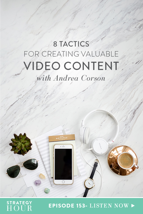 In this episode, we welcome the video queen, Andrea Corson. Andrea is an Emmy-nominated television producer, digital strategist and consultant. She has created awesome videos for a wide range of clients including Google, Disney, Covergirl, DSW, Carnival Cruise Line and Nordstrom Rack, to name just a few. Everybody is always saying video is where it's at. Video is where you have to be and where you need to be investing your time.  |  The Strategy Hour  |  Think Creative Collective