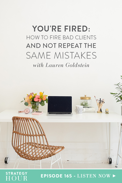 Today on the show we have Lauren Goldstein of Golden Key Partnerships. Lauren has been an entrepreneur for over six years and helps businesses with consulting, training and web design. In this episode, you are going to hear about two of Lauren's crazy client stories when she ended up having to fire them. This is not an easy conversation to have, especially when you can end up in a little bit of legal hoo-ha, as was the case with Lauren!     The Strategy Hour     Think Creative Collective