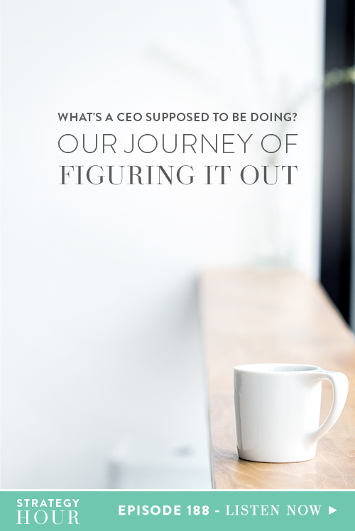 We have both been on a very personal journey to try and figure our sh*t out and a lot of it has had to do with determining what our role is within our own company. So, what does a CEO look like and what is a CEO actually supposed to be doing? This is the golden question we'll be tackling in today's episode. The role of CEO looks so different in every company. It is a role that can be completely unique and takes a while to find your groove.  |  The Strategy Hour  |  Think Creative Collective