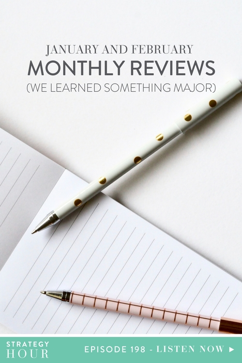 Today on the show, we are bringing you a two-in-one monthly review session. We know we are always telling you to check your data, but the truth is, we forgot. January slipped away and then February slipped away and before we knew it we had the monthly reviews way off of our minds! Even we made mistakes, the upside is that you guys get to learn from them! Yay! So, even if it is March and you also haven't done last month's report yet, that's okay. You can give yourself some grace and do yours with us here today.  |  The Strategy Hour  |  Think Creative Collective