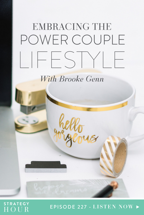 Today on the show we welcome Brooke Genn. Brooke is a writer, a photographer, podcast host and one part of a power couple together with her husband, Wilhelm. Brooke has had a really interesting and eclectic past and today works full-time with her spouse, building a business together as well as building a tiny home on wheels. In this episode, we are talking about what it takes to be a power couple.  |  The Strategy Hour  |  Think Creative Collective