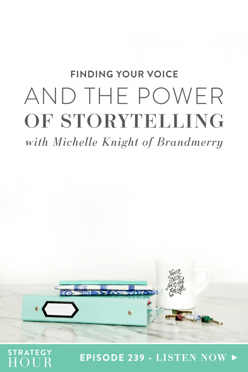 Today on the show we welcome Michelle Knight – mother, wife, world traveler and storyteller. Michelle is also a branding coach and the founder of Brand Merry, where she works with female entrepreneurs to create an authentic, captivating and money-making brands through the power of stories. Today we are breaking down the different types of stories that Michelle sees as most effective in the online space, as well as how you can literally integrate yourself, your background, your purpose and all the little stories that make you an amazing human being – into your brand.  |  The Strategy Hour  |  Think Creative Collective
