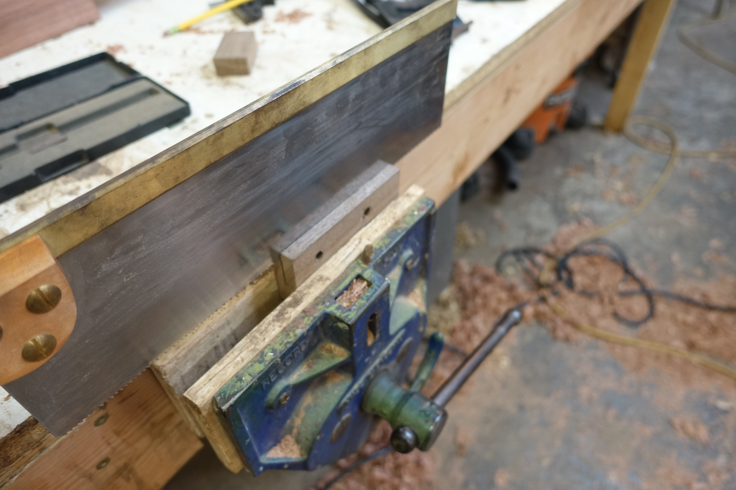 Sawing the kerf that the cutter rests in