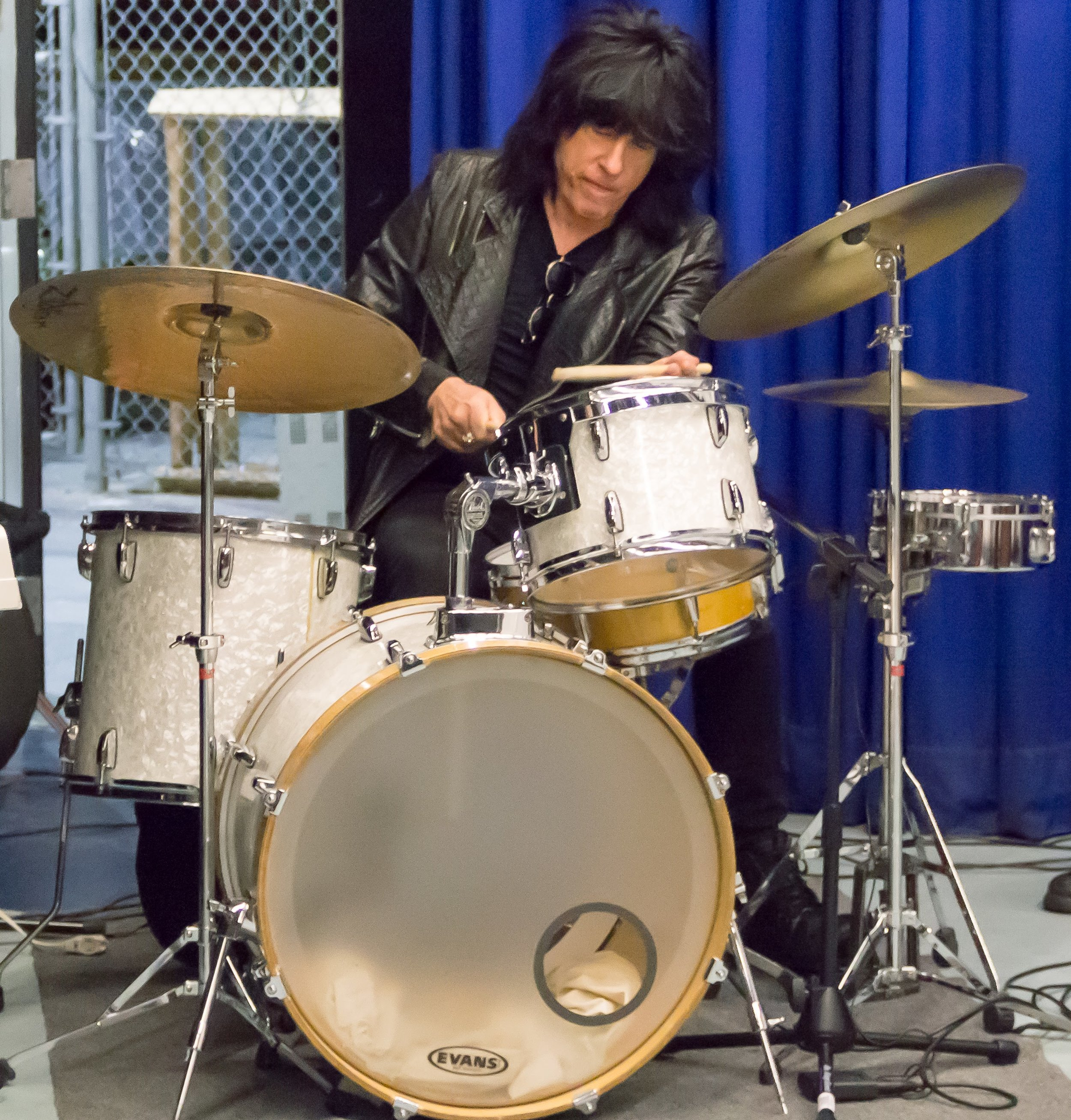 "Late Night ""Flashback"" photo with very special guest Rock n' Roll Hall of Famer Marky Ramone drummer of the legendary punk rock band the Ramones. Marky appeared on our special 100th episode on January 28, 2016. This is a never seen photo of Marky playing our late night bands drums during sound check."