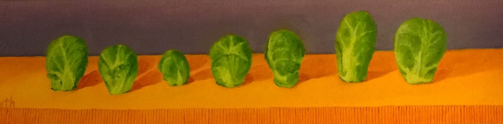 A Row of Brussel Sprouts