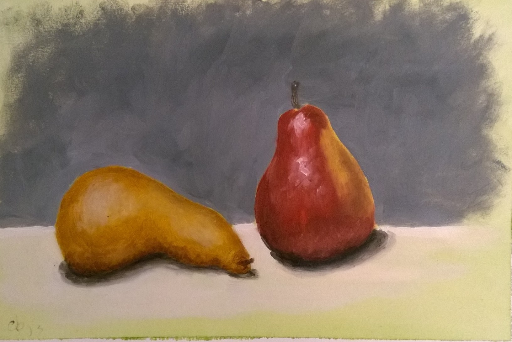 Two Pears on Gray