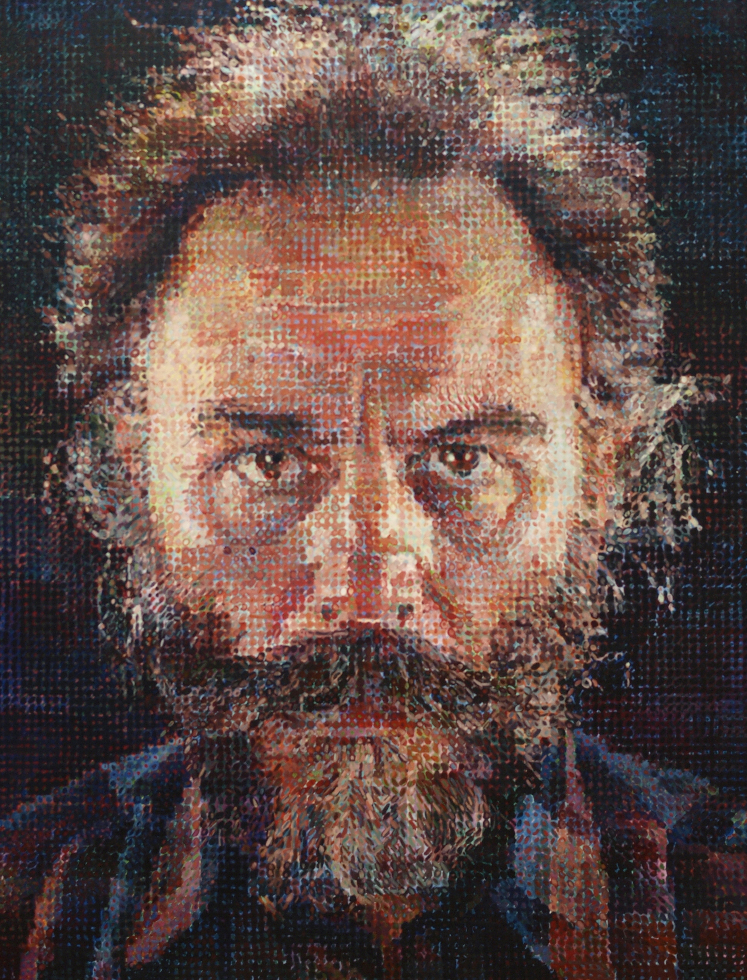 Painting by Chuck Close photographed in The Metropolitan Museum