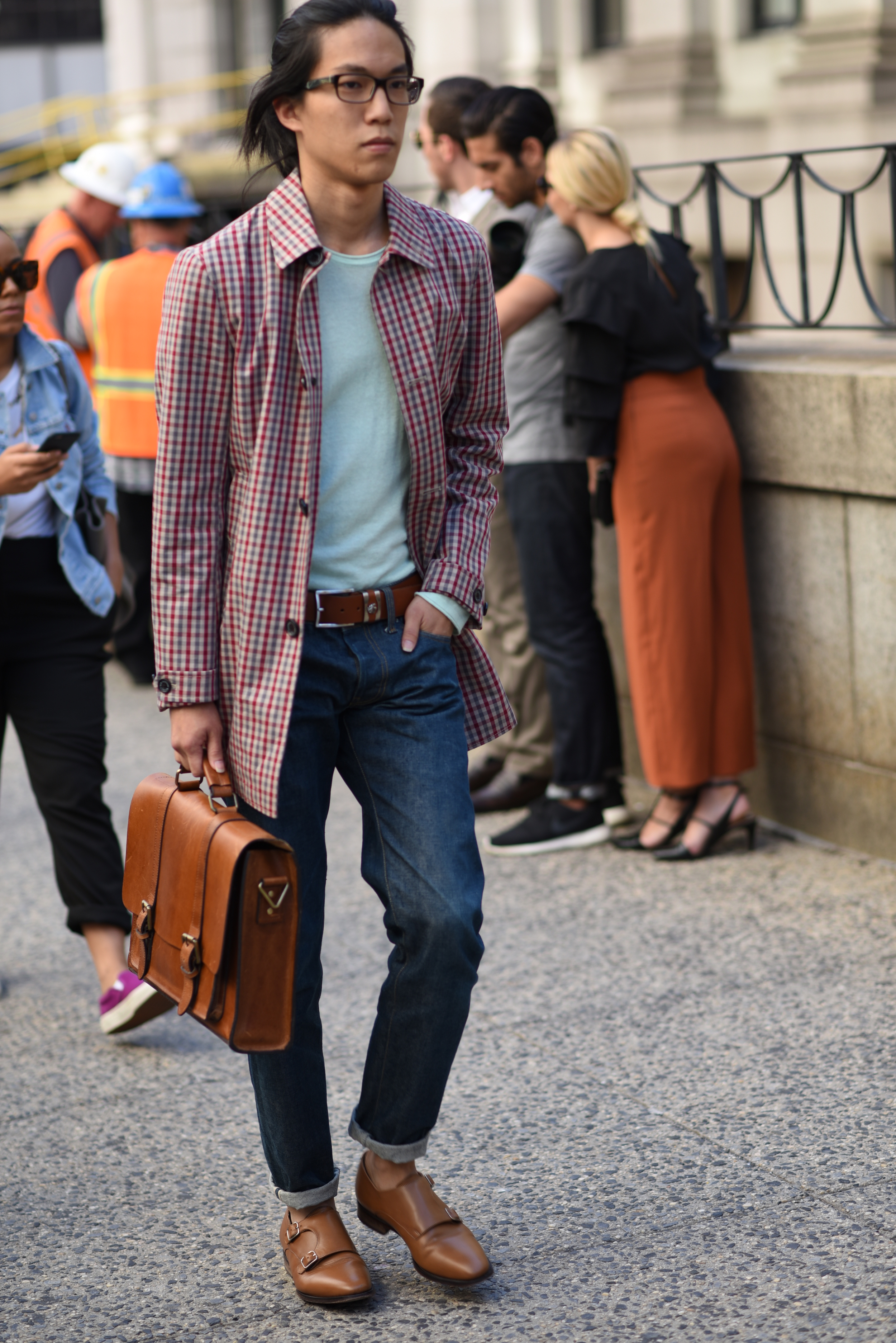 Preppy chic. The leather in this outfit is so rich.