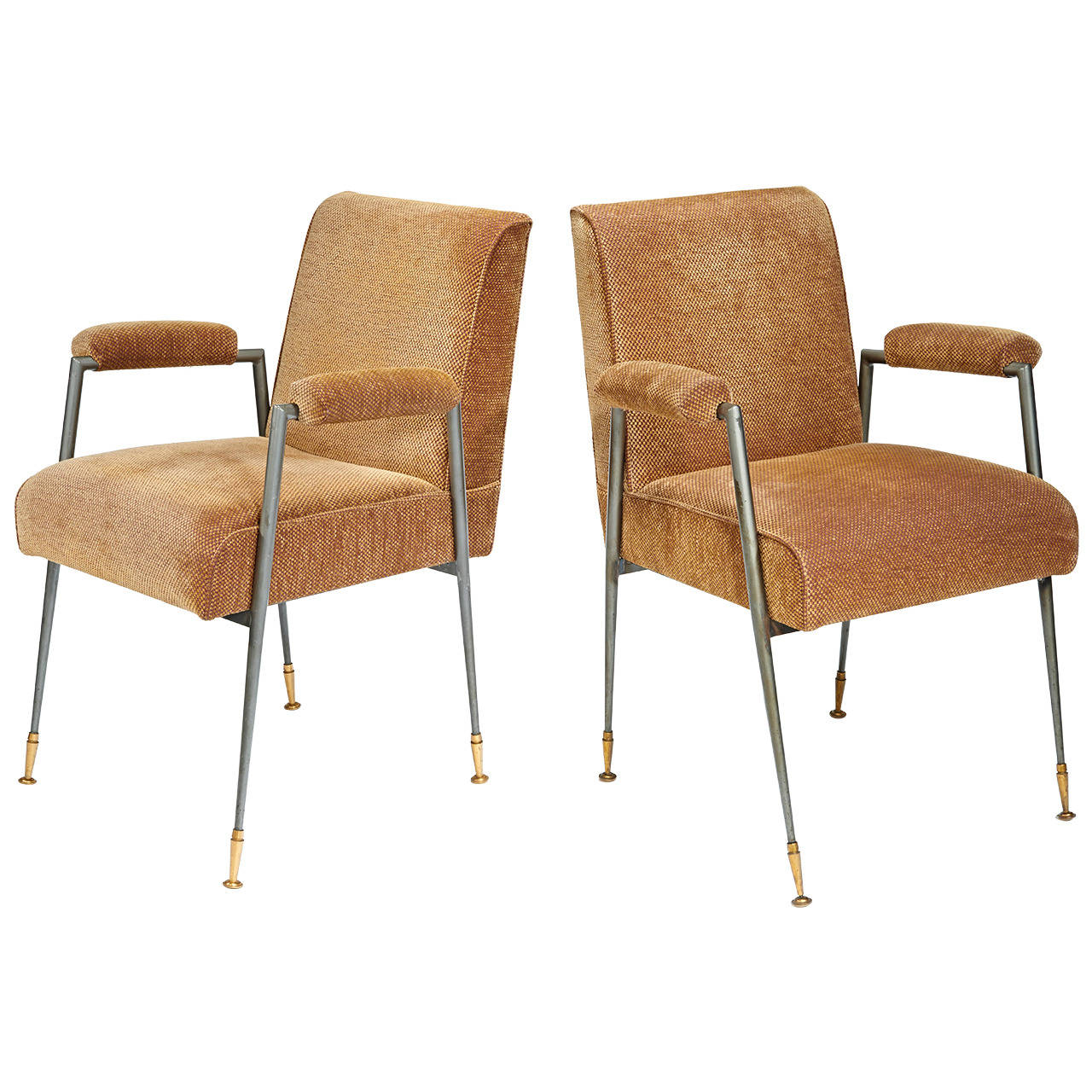 Jules Leleu  Armchairs in Steel and Brass $18,000