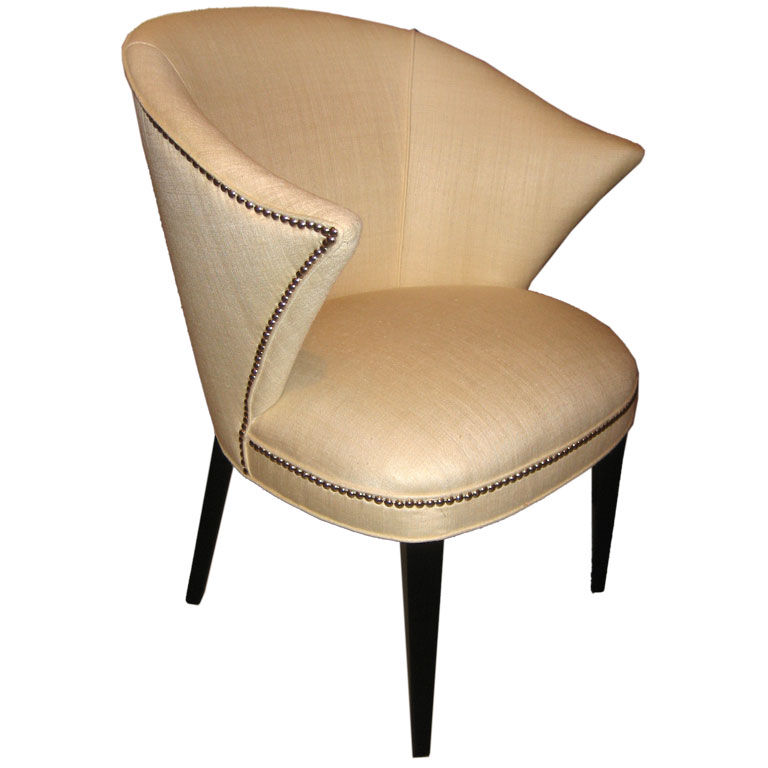 Samuel Marx  attributed  Sensuous 1940s Chair In Silk $7,500