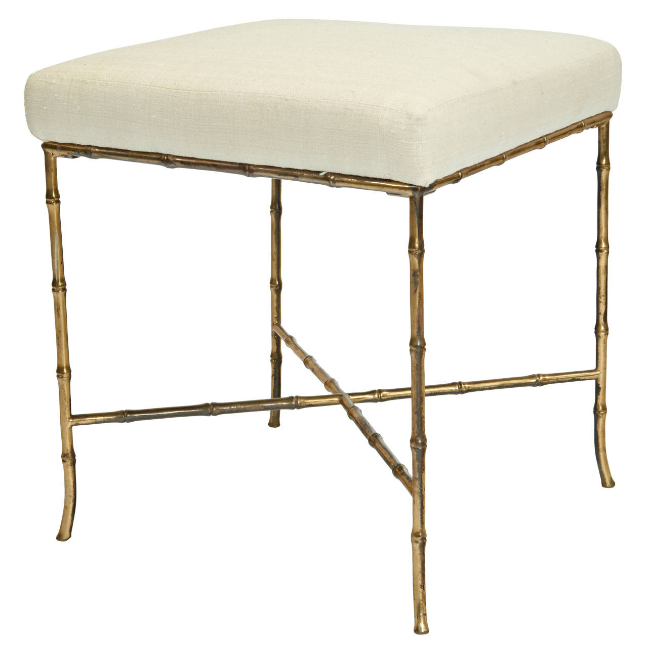 Bagues  Brass Faux Bamboo Stool with Silk Top $3,800