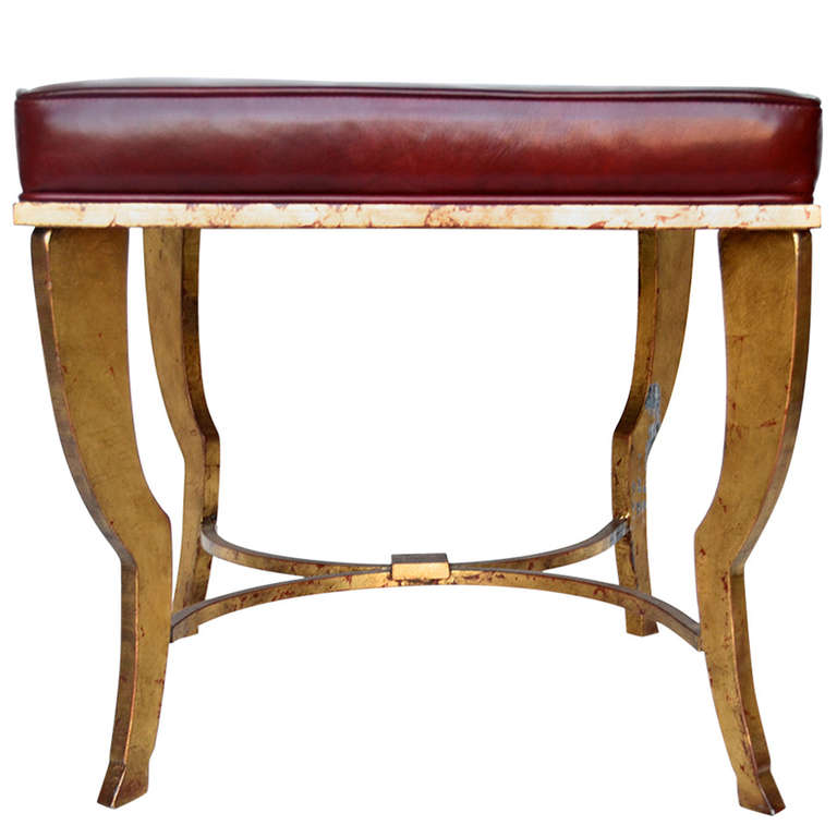 Maison Ramsay  Gilded Iron Stool with Oxblood Leather Top $7,500