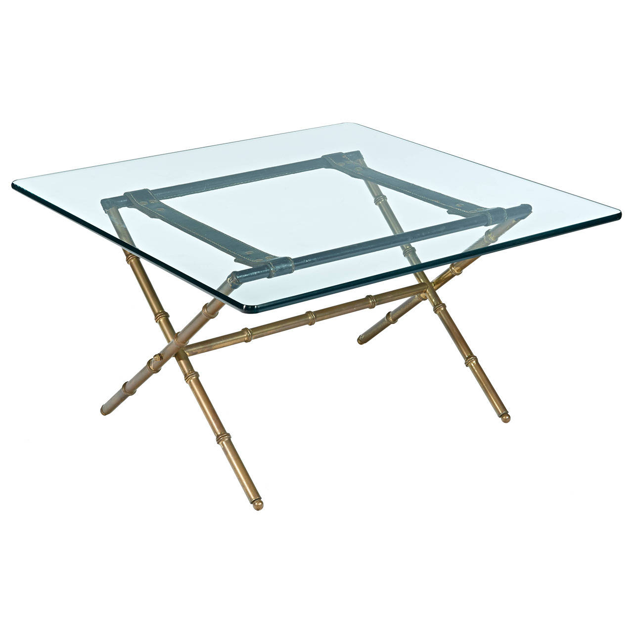 Jacques Adnet  Brass Bamboo and Leather Table $5,500