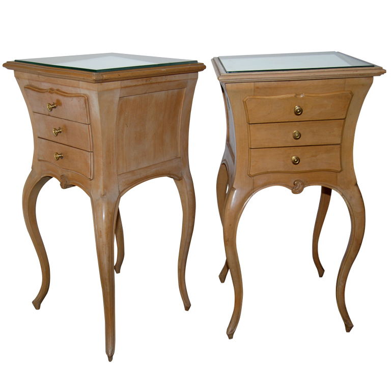 Maison Jansen  Sycamore Nightstands with Mirrored Tops $12,500