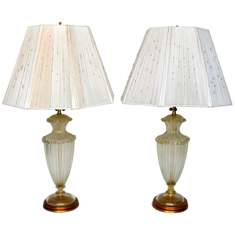 Barovier and Toso  Pair of Table Lamps with Beaded String Shades $7,500