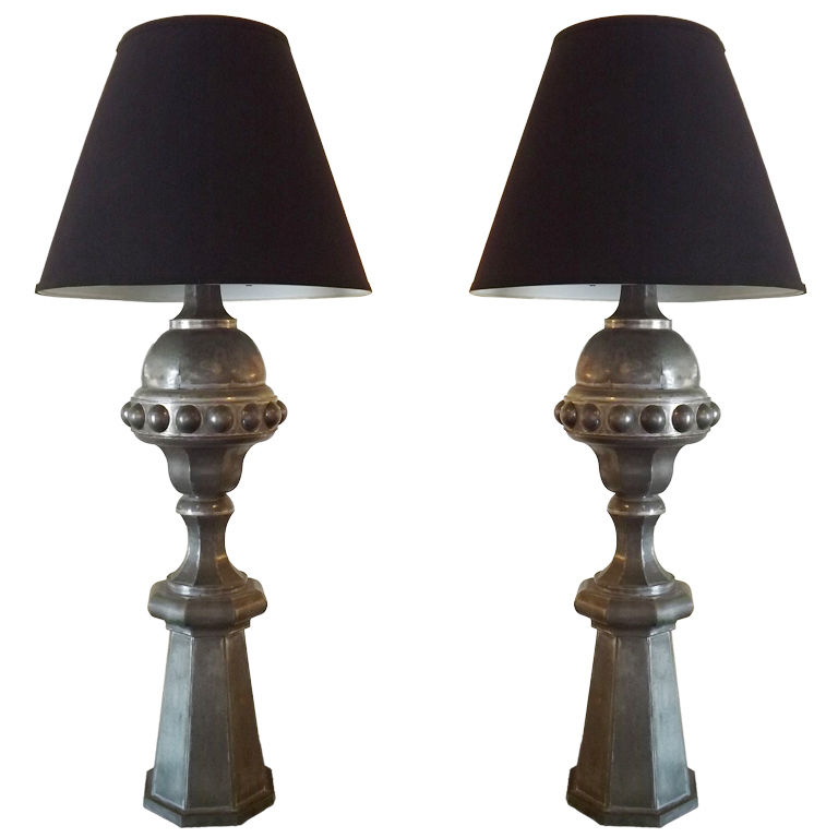 French Pair of Zinc Finial Table Lamps $7,500