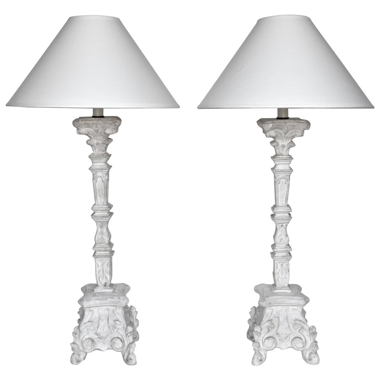Jean Charles Moreux  Pair of Plaster Table Lamps $8,500