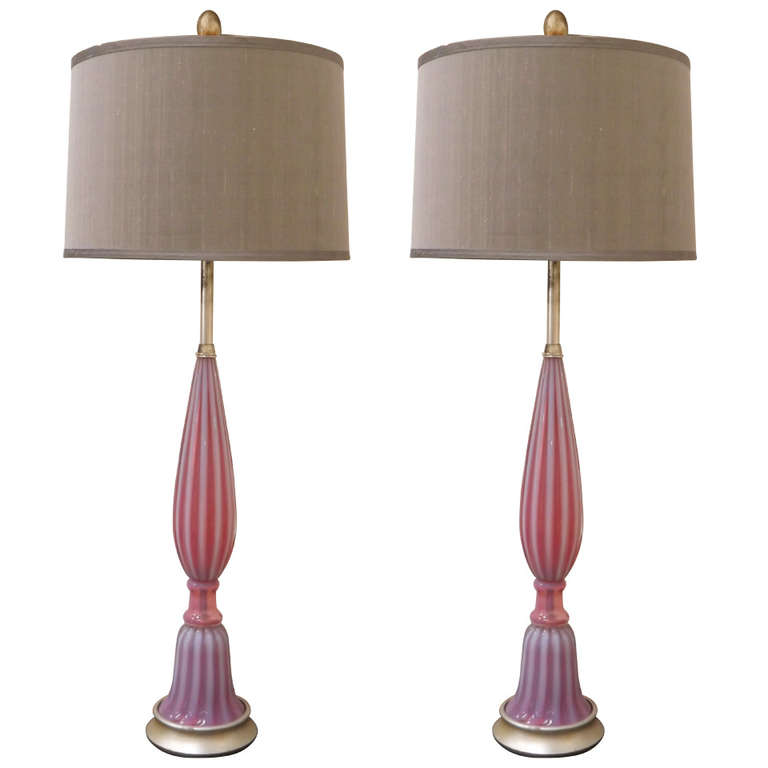 Seguso  Pair of Table Lamps in Opalescent Pink Glass $8,500