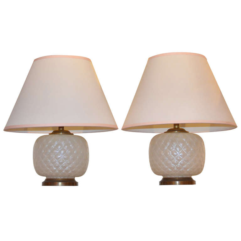 "Venini  Pair of ""Quilted"" Glass Table Lamps POR"