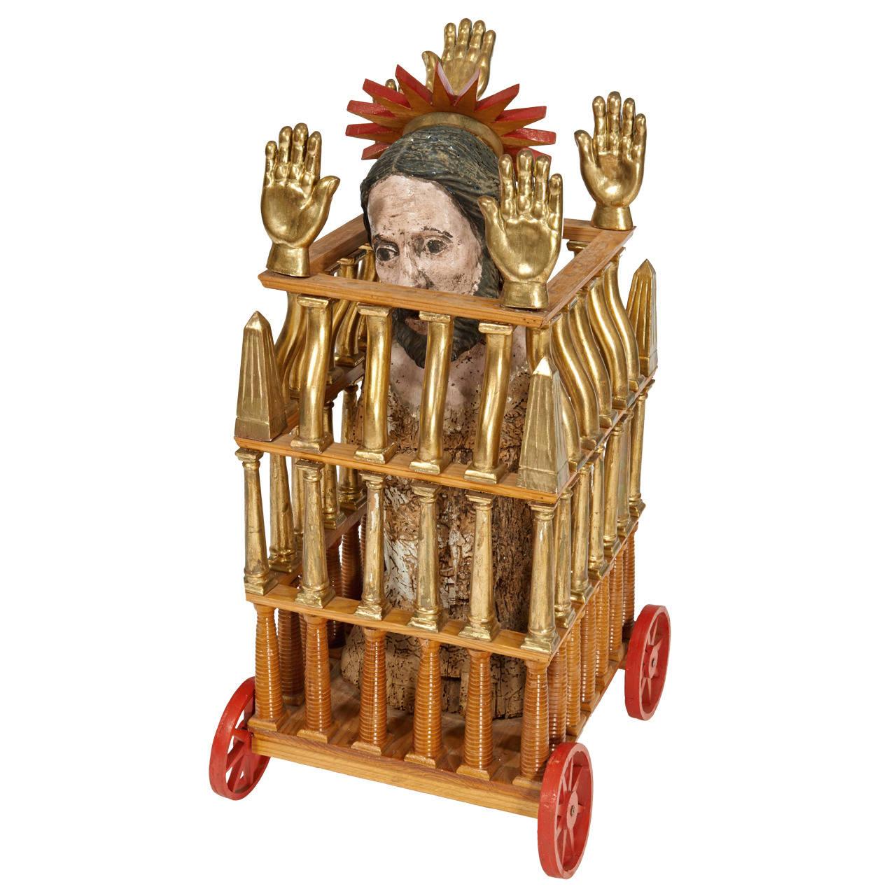 "Pedro Friedeberg  ""Caged Saint"" Sculpture $12,500"