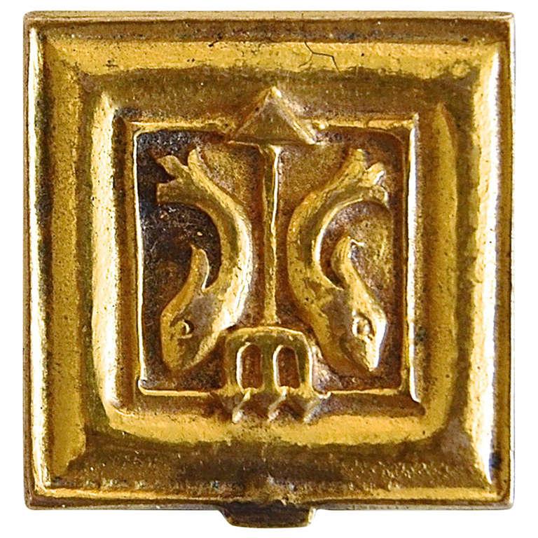 "Line Vautrin  ""Pisces"" Pillbox in Gilt Brass $3,500"