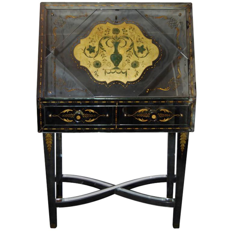 Robert Pansart  Rare Verre Eglomise Mirrored Drop Front Desk $37,500