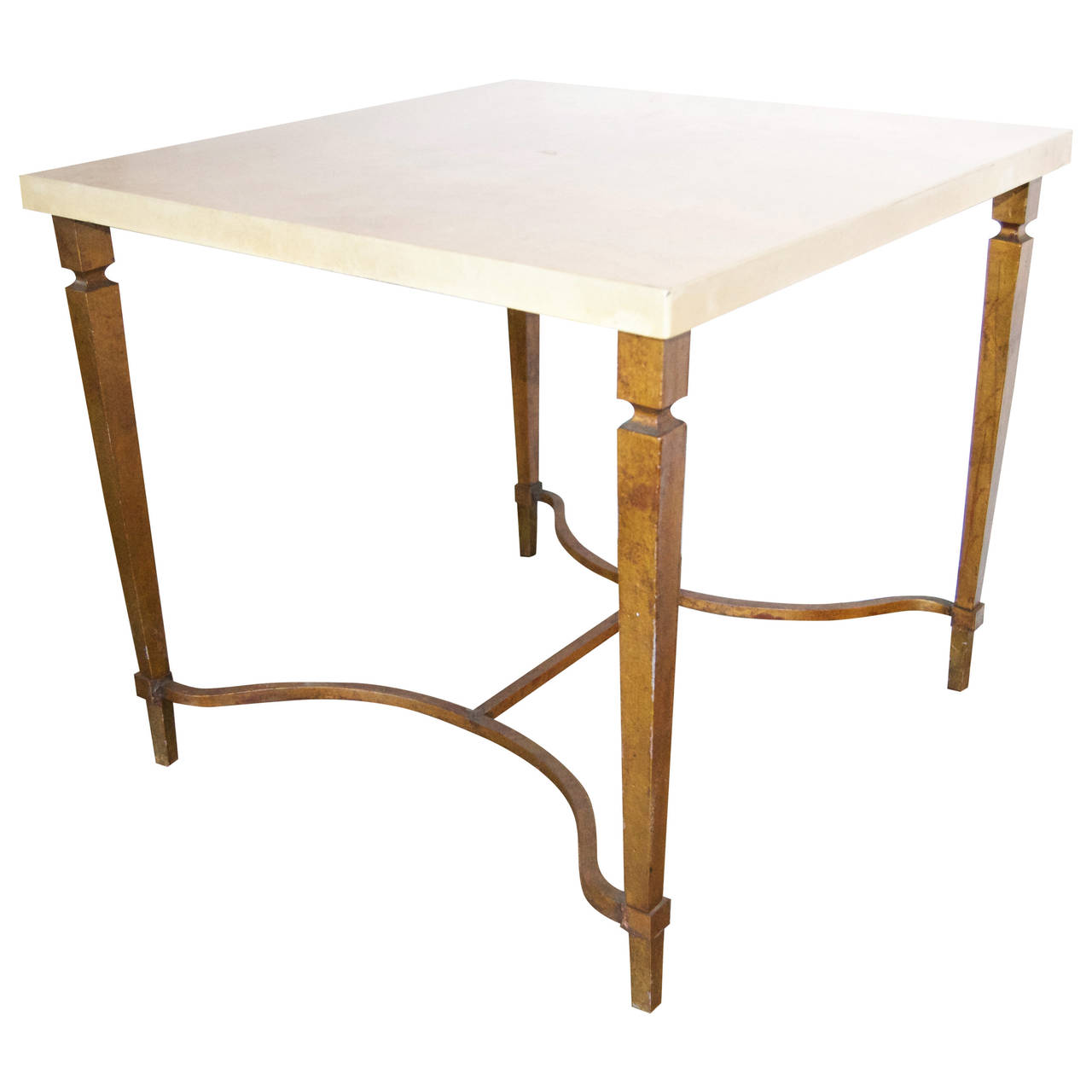 Aldo Tura  Parchment Top Gilded Table $5,500