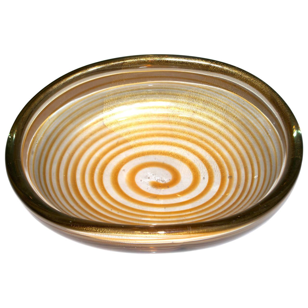 "Archimede Seguso  ""Spirale"" Centerpiece with Gold Inclusion POR"