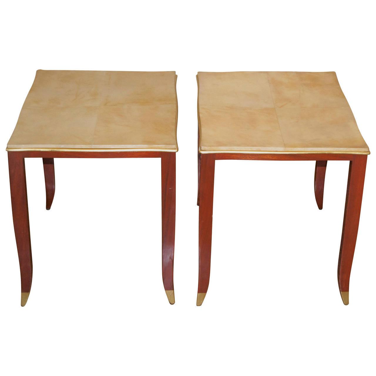 Jean Pascaud  Parchment Top Side Tables $9,000
