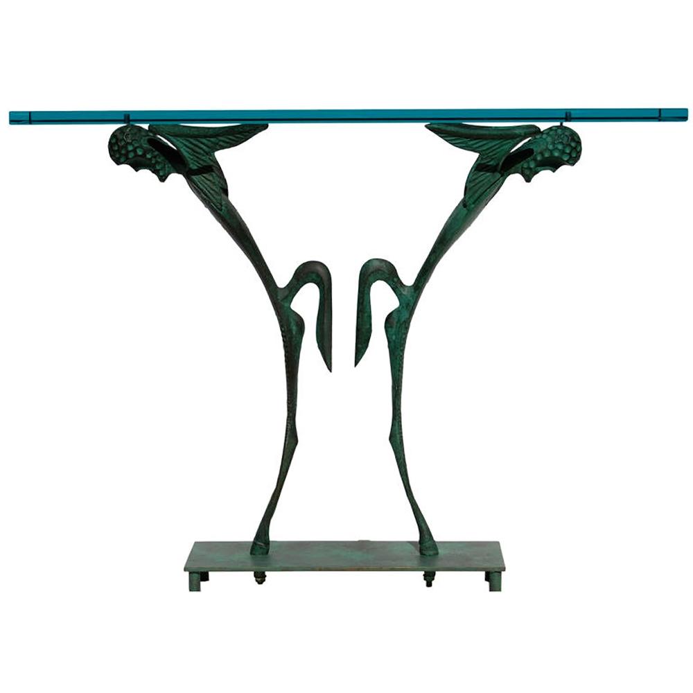 "Dan Johnson  Bronze & Glass ""Satyr"" Console $45,000"